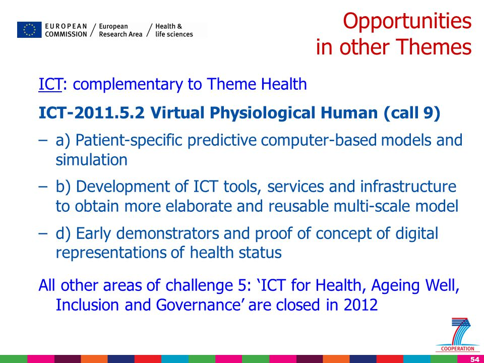 54 Opportunities in other Themes ICT: complementary to Theme Health ICT-2011.5.2 Virtual Physiological Human (call 9) –a) Patient-specific predictive computer-based models and simulation –b) Development of ICT tools, services and infrastructure to obtain more elaborate and reusable multi-scale model –d) Early demonstrators and proof of concept of digital representations of health status All other areas of challenge 5: 'ICT for Health, Ageing Well, Inclusion and Governance' are closed in 2012