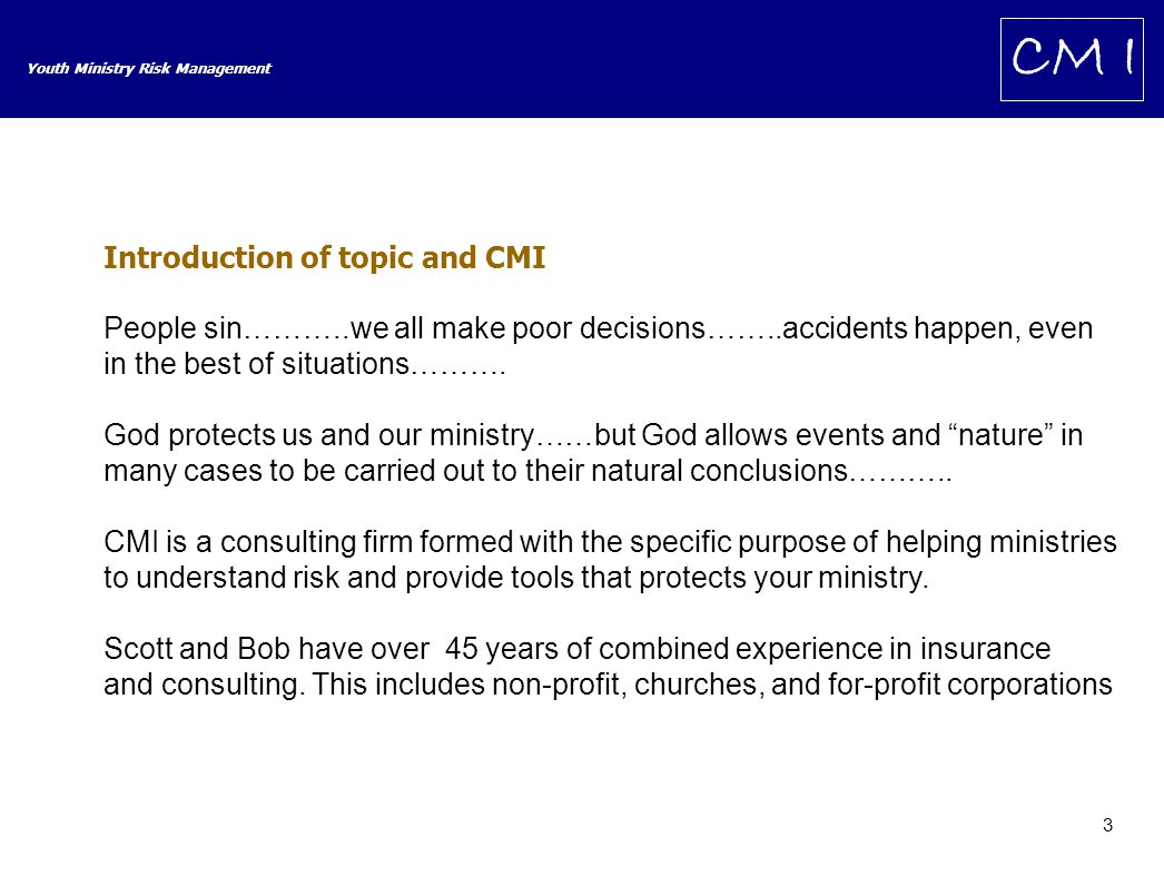 14 Youth Ministry Risk Management CM I Risk vs.