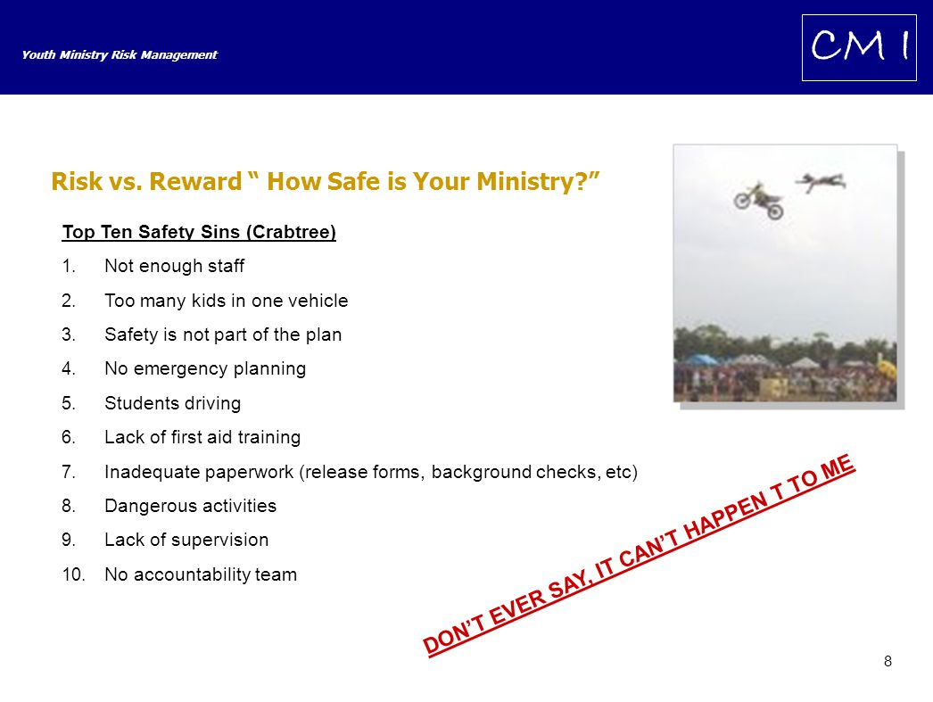 29 Youth Ministry Risk Management CM I Case Studies Case Summary Church went to camp for retreat.