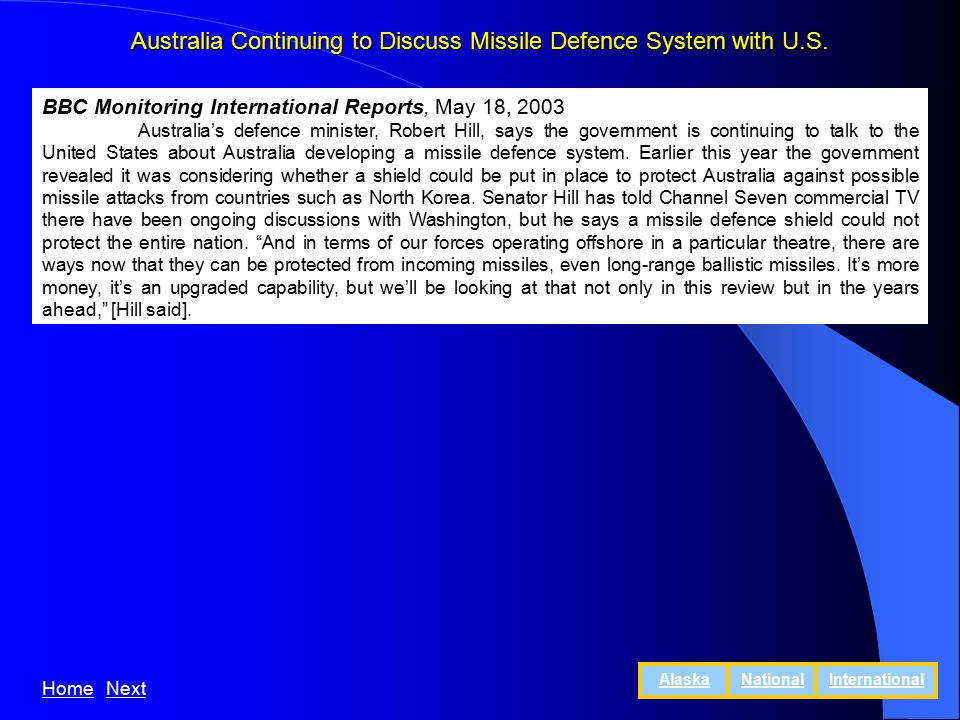 Australia Continuing to Discuss Missile Defence System with U.S.