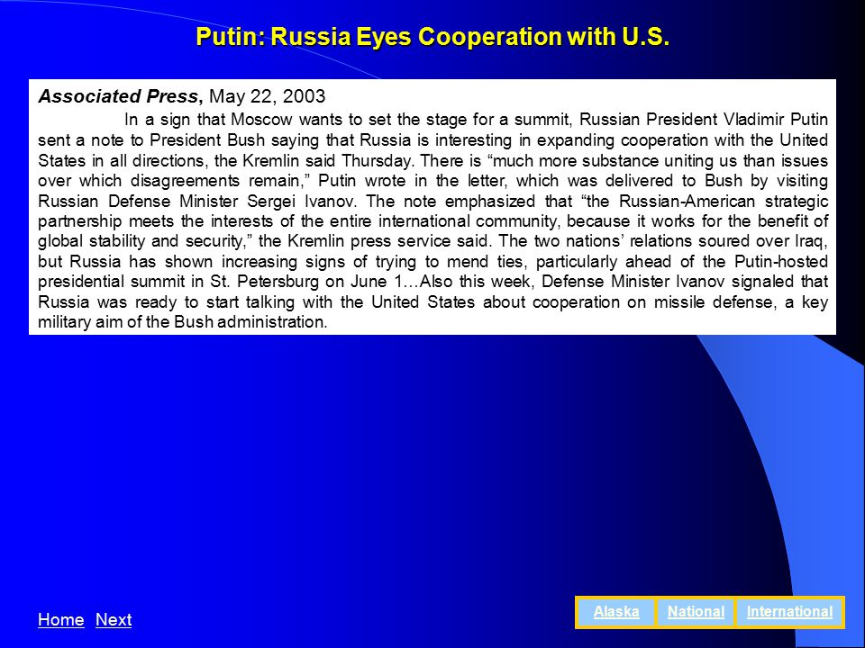Putin: Russia Eyes Cooperation with U.S.