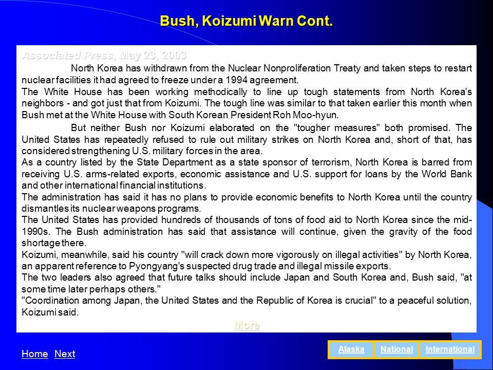 Bush, Koizumi Warn Cont.