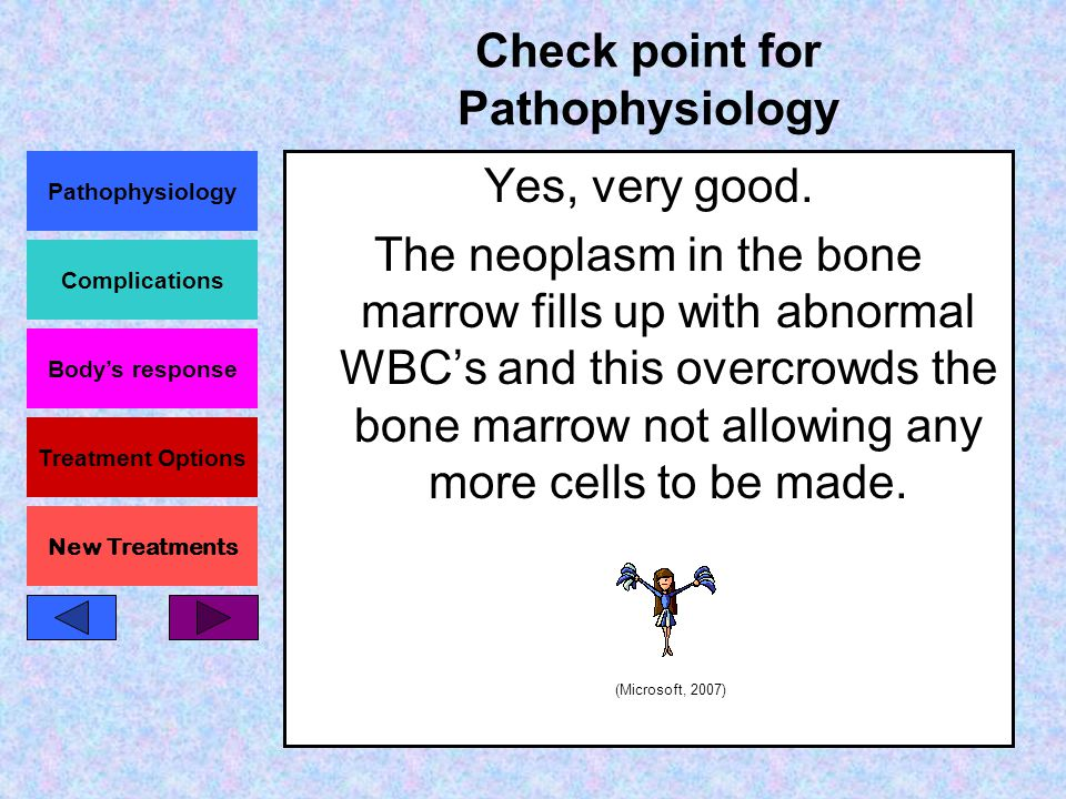 Pathophysiology Complications Body's response Treatment Options New Treatments Check point for Pathophysiology Leukemia is a disease where the neoplasm inside the bone marrow does what.