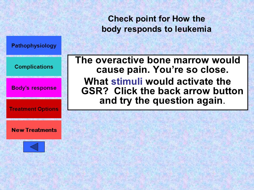 Pathophysiology Complications Body's response Treatment Options New Treatments Check point for How the body responds to leukemia Fantastic.