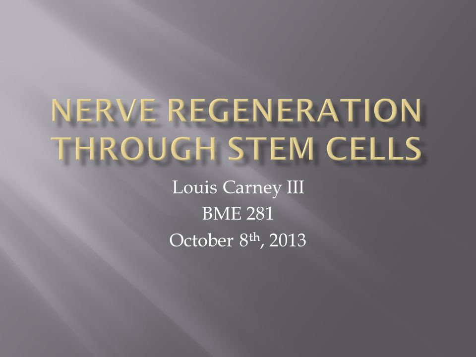 Louis Carney III BME 281 October 8 th, 2013