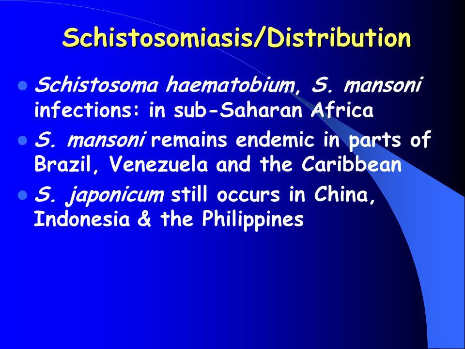 Schistosomiasis/Distribution Schistosoma haematobium, S. mansoni infections: in sub-Saharan Africa S. mansoni remains endemic in parts of Brazil, Vene