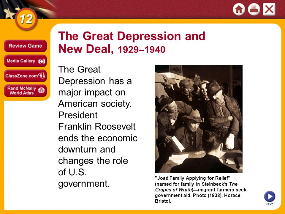 NEXT SECTION 1 SECTION 2 SECTION 3 Hoover and the Crash Roosevelt and the New Deal Life During the Depression SECTION 4 The Effects of the New Deal The Great Depression and New Deal, 1929–1940