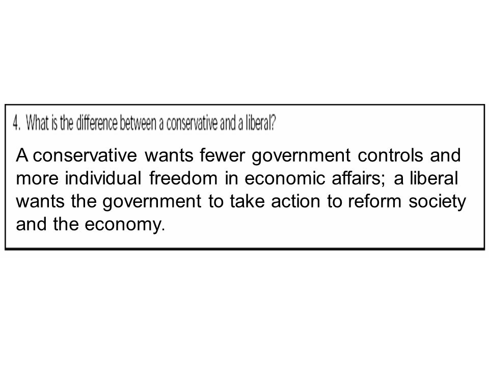 A conservative wants fewer government controls and more individual freedom in economic affairs; a liberal wants the government to take action to refor