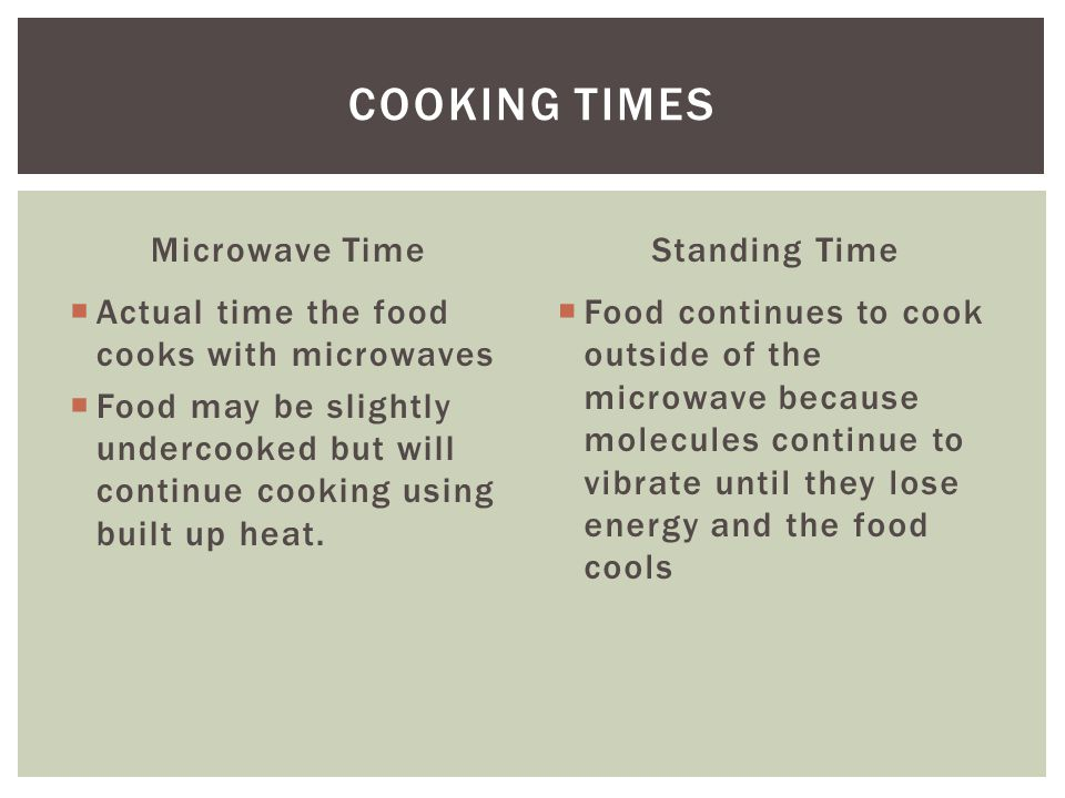Microwave Time  Actual time the food cooks with microwaves  Food may be slightly undercooked but will continue cooking using built up heat.
