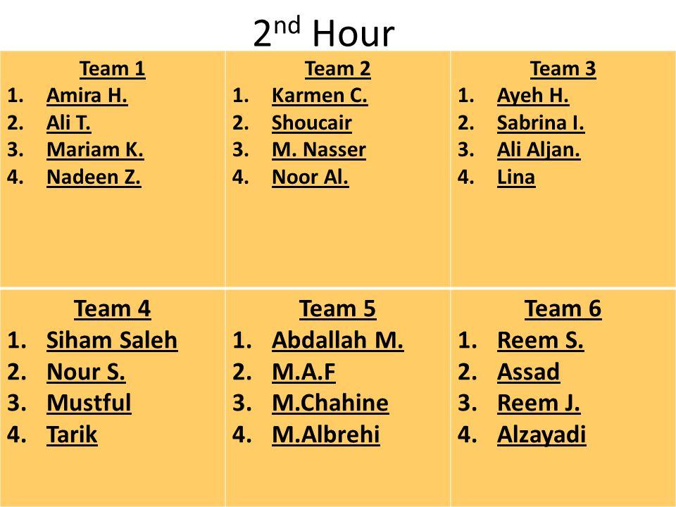 2 nd Hour Team 1 1.Amira H. 2.Ali T. 3.Mariam K.