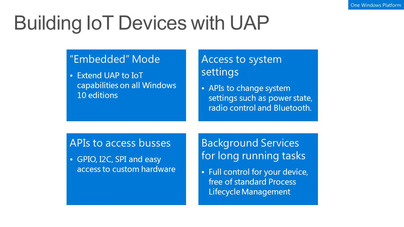 Embedded Mode Extend UAP to IoT capabilities on all Windows 10 editions Access to system settings APIs to change system settings such as power state, radio control and Bluetooth.