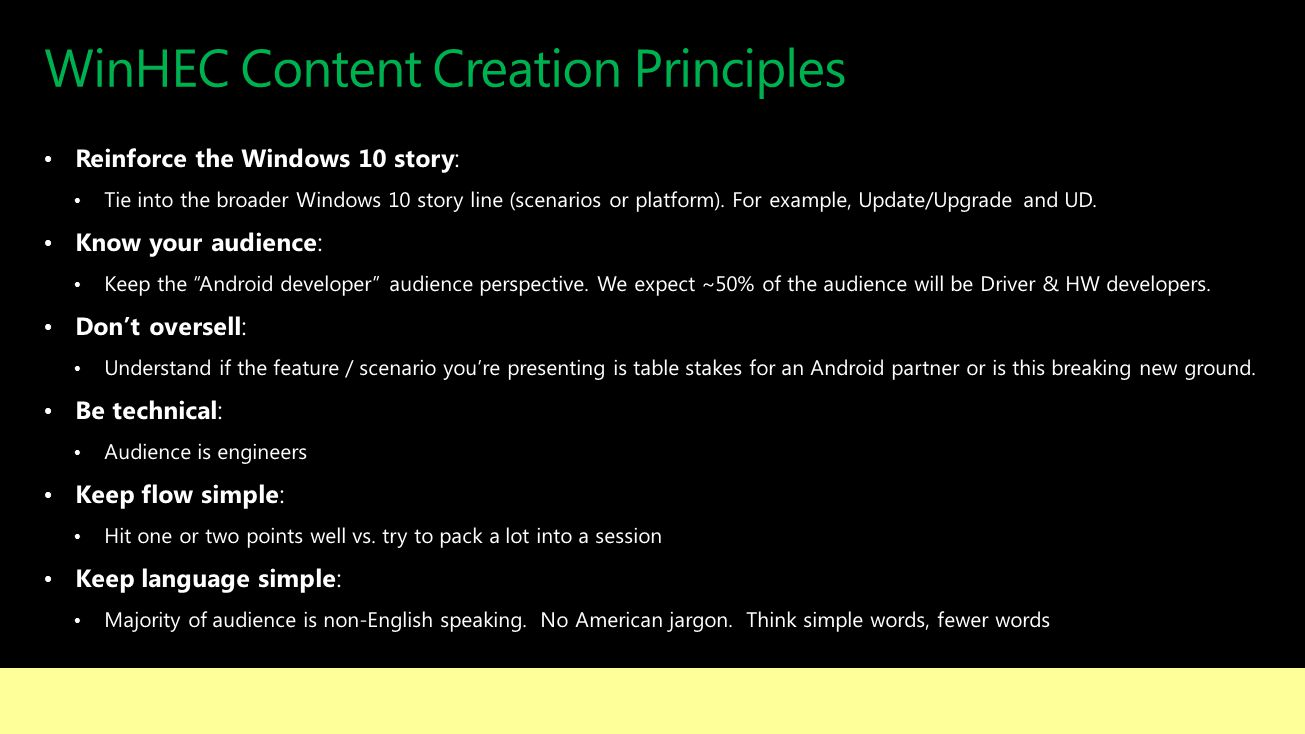 WinHEC Content Creation Principles