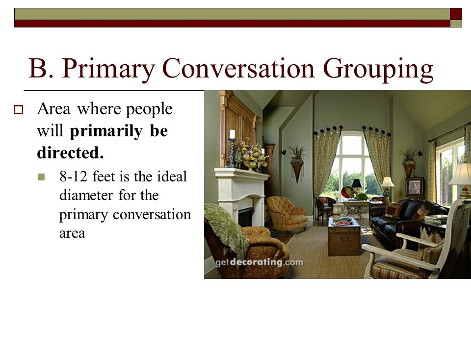 B.Primary Conversation Grouping  Area where people will primarily be directed.