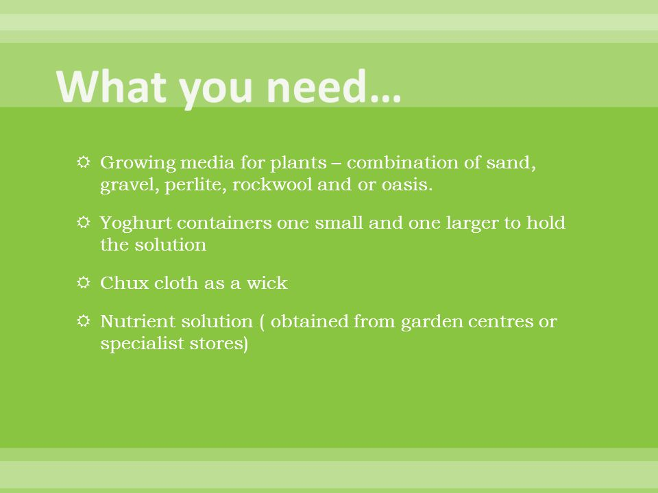  Growing media for plants – combination of sand, gravel, perlite, rockwool and or oasis.  Yoghurt containers one small and one larger to hold the so
