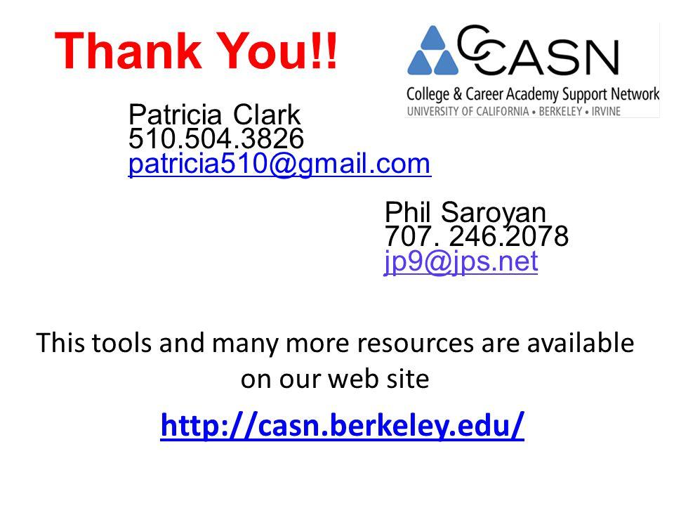 Thank You!.Patricia Clark 510.504.3826 patricia510@gmail.com Phil Saroyan 707.