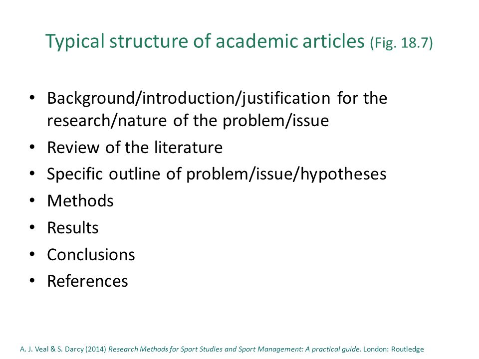 Typical structure of academic articles (Fig.