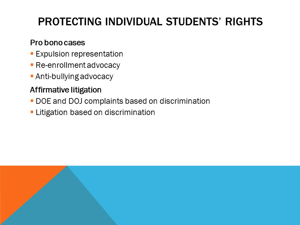 PROTECTING INDIVIDUAL STUDENTS' RIGHTS Pro bono cases  Expulsion representation  Re-enrollment advocacy  Anti-bullying advocacy Affirmative litigation  DOE and DOJ complaints based on discrimination  Litigation based on discrimination