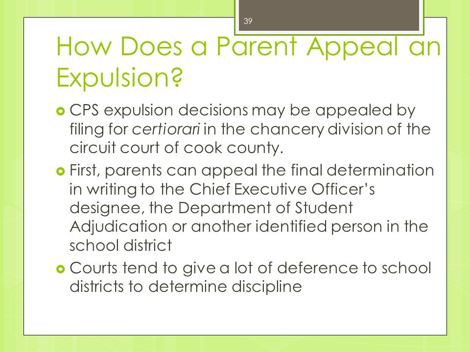 How Does a Parent Appeal an Expulsion.