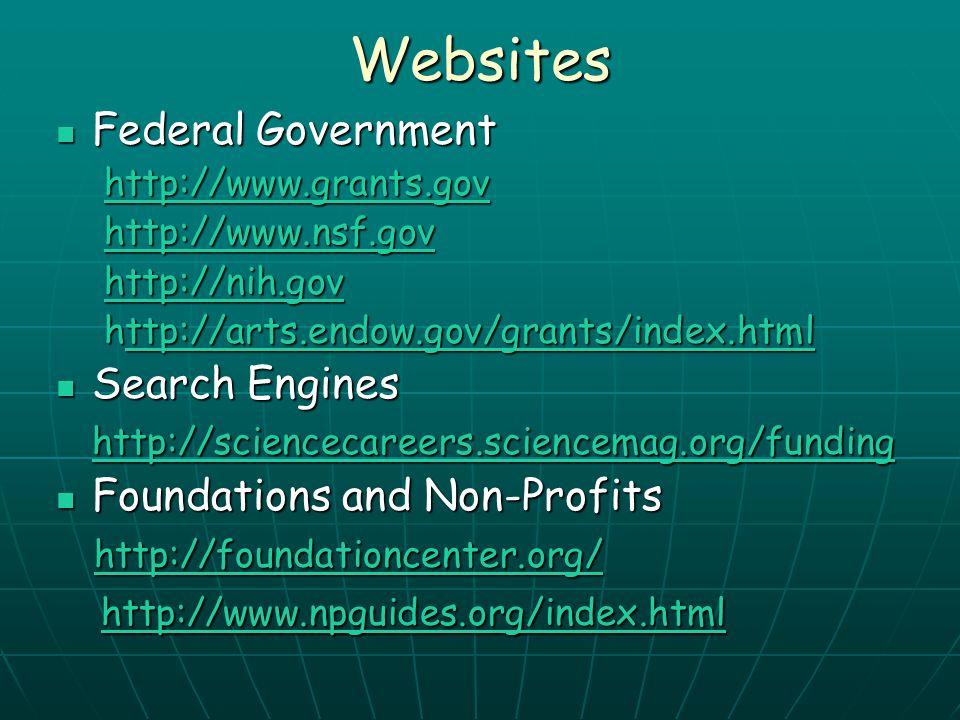 Websites Federal Government Federal Government http://www.grants.gov http://www.nsf.gov http://nih.gov http://arts.endow.gov/grants/index.html ttp://a