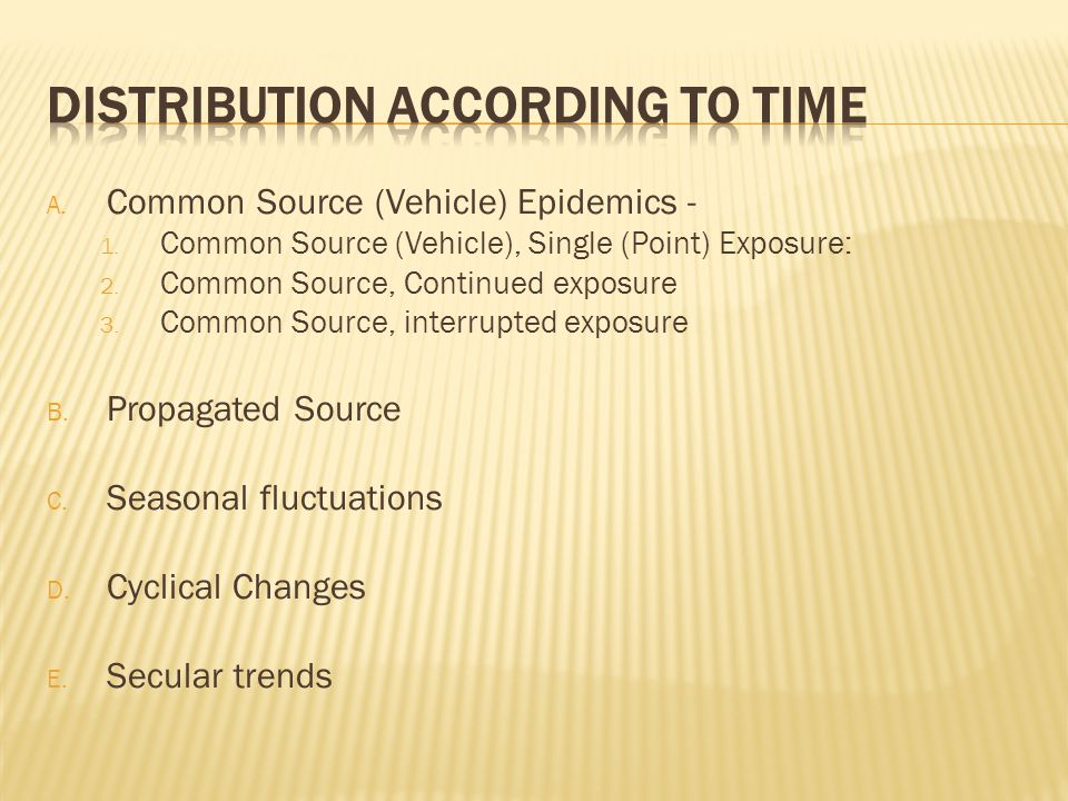 A.Common Source (Vehicle) Epidemics - 1. Common Source (Vehicle), Single (Point) Exposure: 2.
