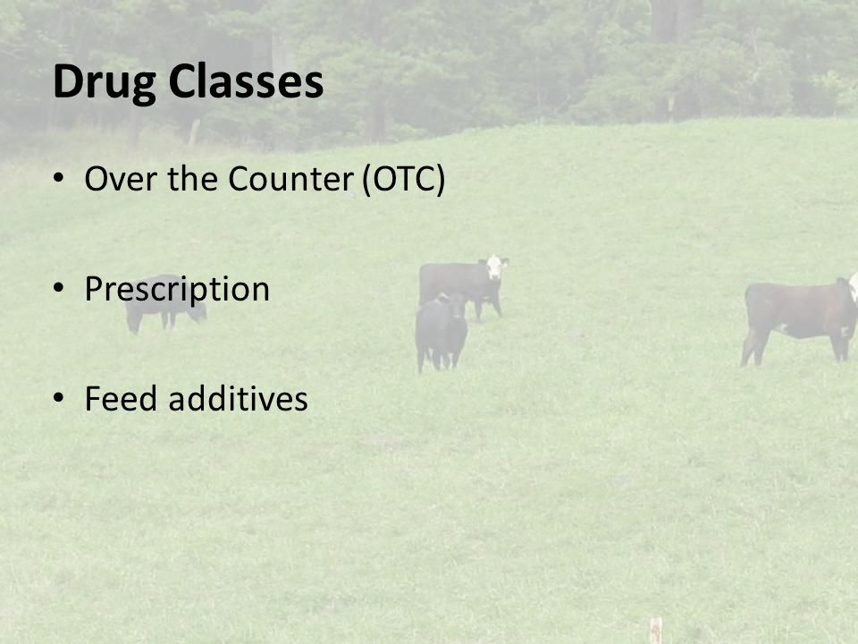 Drug Classes Over the Counter (OTC) Prescription Feed additives