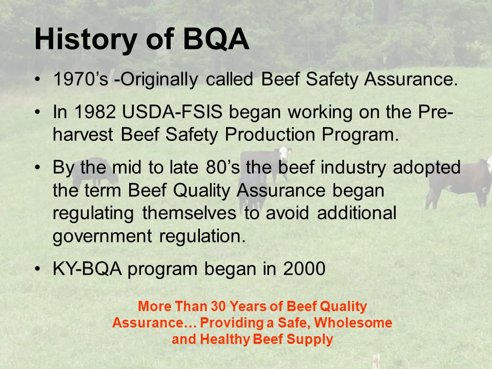 History of BQA 1970's -Originally called Beef Safety Assurance.