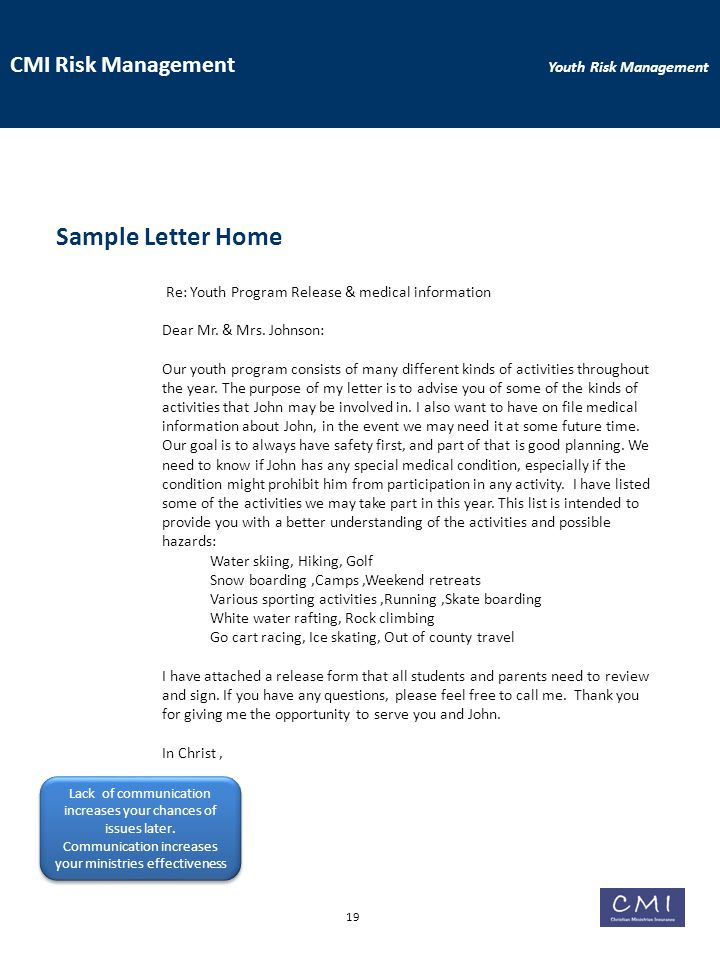 CMI Risk Management Youth Risk Management Sample Letter Home Re: Youth Program Release & medical information Dear Mr.