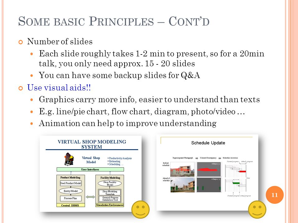 S OME BASIC P RINCIPLES – C ONT ' D Number of slides Each slide roughly takes 1-2 min to present, so for a 20min talk, you only need approx.