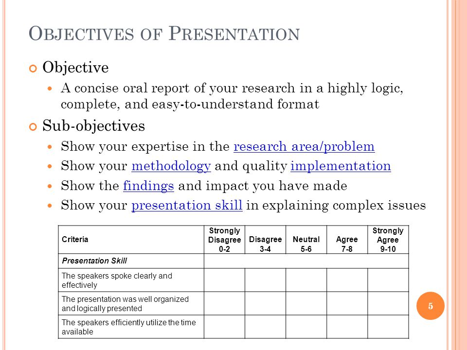 O BJECTIVES OF P RESENTATION Objective A concise oral report of your research in a highly logic, complete, and easy-to-understand format Sub-objectives Show your expertise in the research area/problem Show your methodology and quality implementation Show the findings and impact you have made Show your presentation skill in explaining complex issues Criteria Strongly Disagree 0-2 Disagree 3-4 Neutral 5-6 Agree 7-8 Strongly Agree 9-10 Presentation Skill The speakers spoke clearly and effectively The presentation was well organized and logically presented The speakers efficiently utilize the time available 5