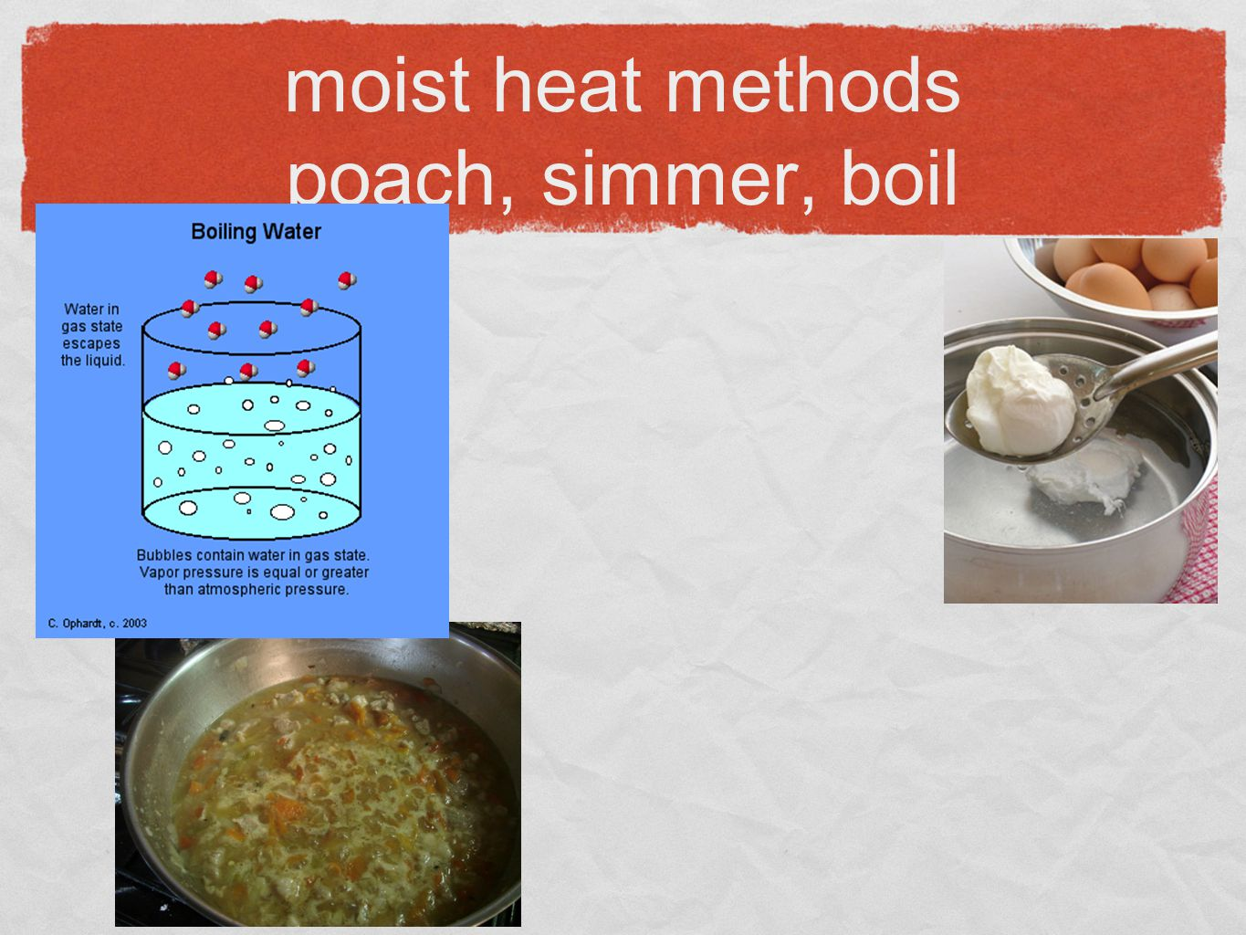 moist heat methods poach, simmer, boil