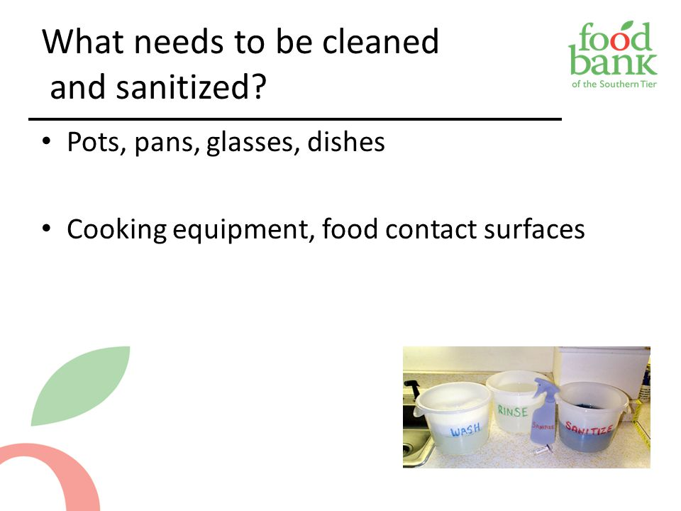 What needs to be cleaned and sanitized.