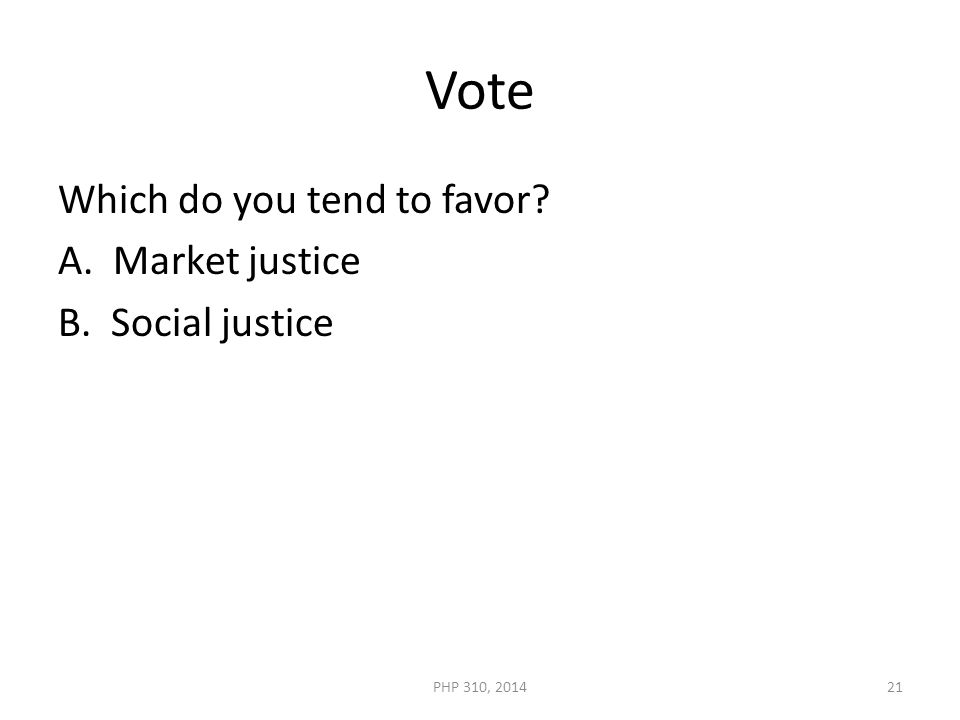 Vote Which do you tend to favor A. Market justice B. Social justice PHP 310, 201421
