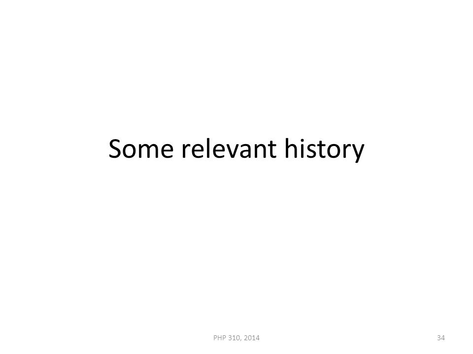 Some relevant history PHP 310, 201434