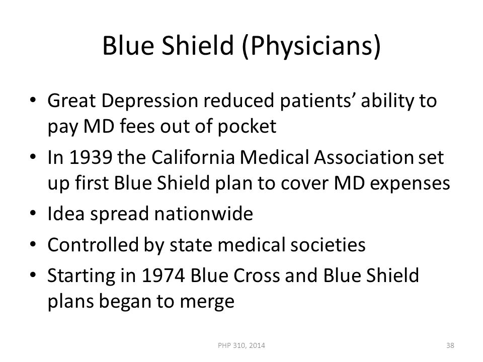 Blue Shield (Physicians) Great Depression reduced patients' ability to pay MD fees out of pocket In 1939 the California Medical Association set up first Blue Shield plan to cover MD expenses Idea spread nationwide Controlled by state medical societies Starting in 1974 Blue Cross and Blue Shield plans began to merge PHP 310, 201438