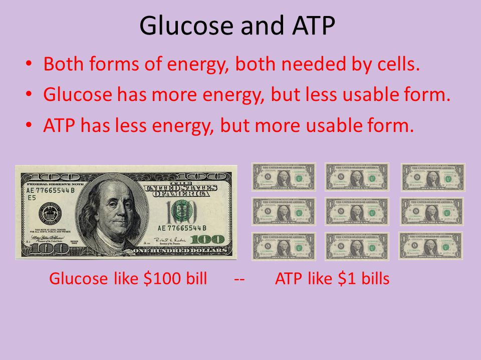 Both forms of energy, both needed by cells. Glucose has more energy, but less usable form. ATP has less energy, but more usable form. Glucose like $10