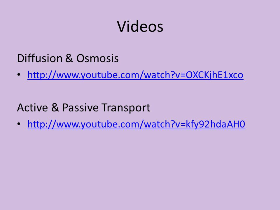 Videos Diffusion & Osmosis http://www.youtube.com/watch?v=OXCKjhE1xco Active & Passive Transport http://www.youtube.com/watch?v=kfy92hdaAH0