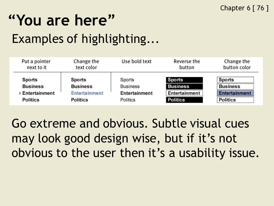 Chapter 6 [ 76 ] You are here Examples of highlighting...