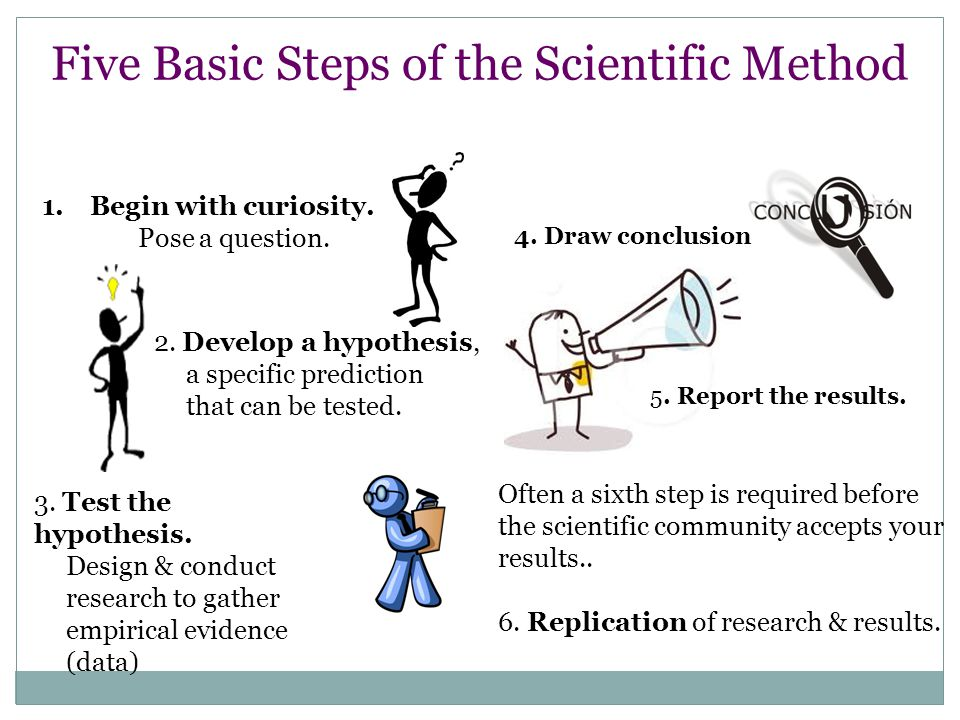 Five Basic Steps of the Scientific Method 1.Begin with curiosity.