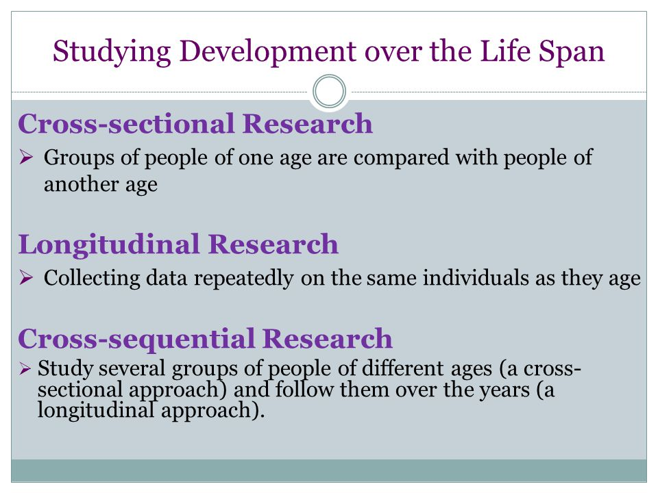 Studying Development over the Life Span Cross-sectional Research  Groups of people of one age are compared with people of another age Longitudinal Research  Collecting data repeatedly on the same individuals as they age Cross-sequential Research  Study several groups of people of different ages (a cross- sectional approach) and follow them over the years (a longitudinal approach).