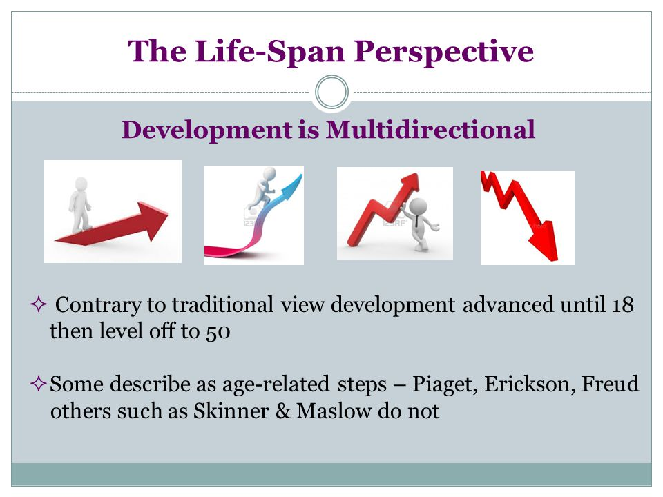 The Life-Span Perspective Development is Multidirectional  Contrary to traditional view development advanced until 18 then level off to 50  Some des
