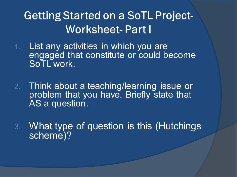 Getting Started on a SoTL Project- Worksheet- Part I 1.