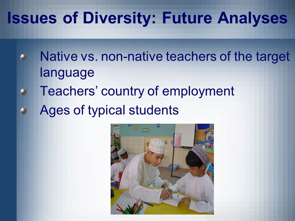 Issues of Diversity: Future Analyses Native vs.