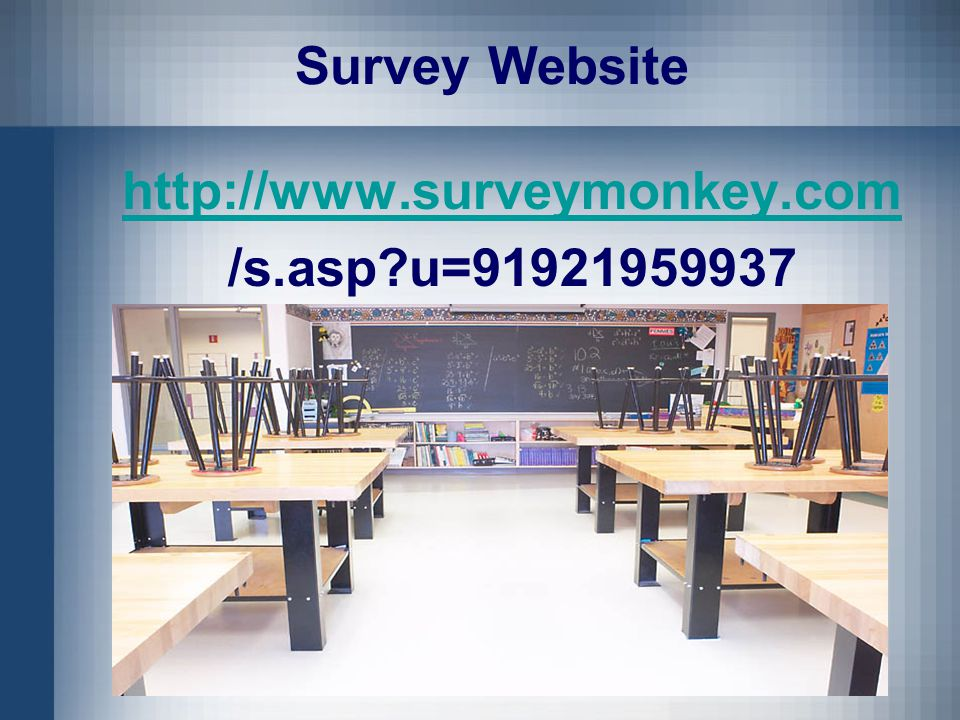 Survey Website http://www.surveymonkey.com /s.asp u=91921959937