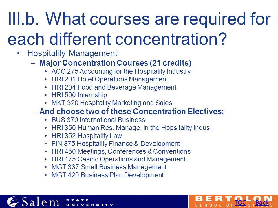 III.b. What courses are required for each different concentration.