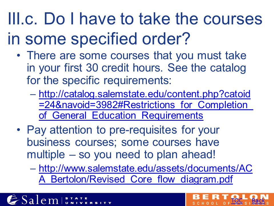 III.c. Do I have to take the courses in some specified order.