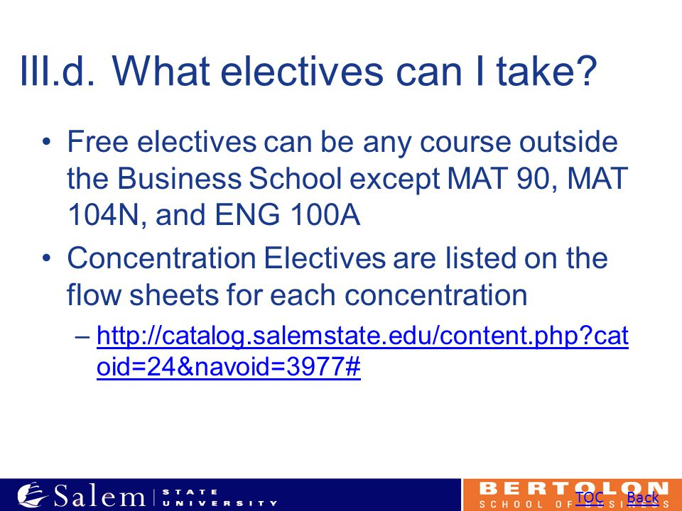 III.d. What electives can I take.