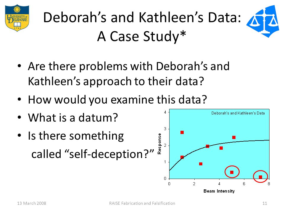 Deborah's and Kathleen's Data: A Case Study* Are there problems with Deborah's and Kathleen's approach to their data.