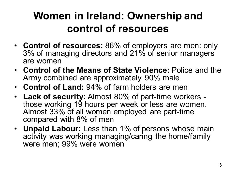 4 Ireland: Pension coverage of persons in employment, 2005 and 2008 % of Women and Men with Different Pensions 2005 2008 Pension coverage Men Women Men Women Occupational pension 38.0 43.0 34.0 40.0 Personal pension 17.6 6.0 18.0 7.0 Both occupational & personal pension 3.0 2.0 4.0 4.0 No pension 42.0 49.0 44.0 50.0 Total100 100 100 100 Source: CSO QNHS36 (% are rounded so may not add up to 100) Table 3.3 CSO Women and Men in Ireland Report, 2009