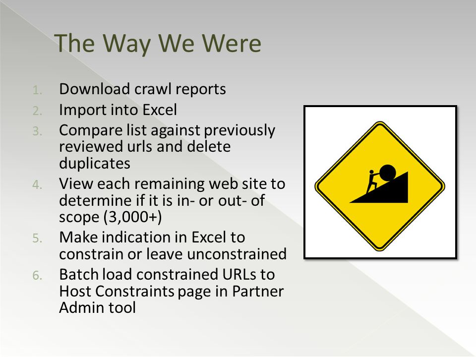 1. Download crawl reports 2. Import into Excel 3.
