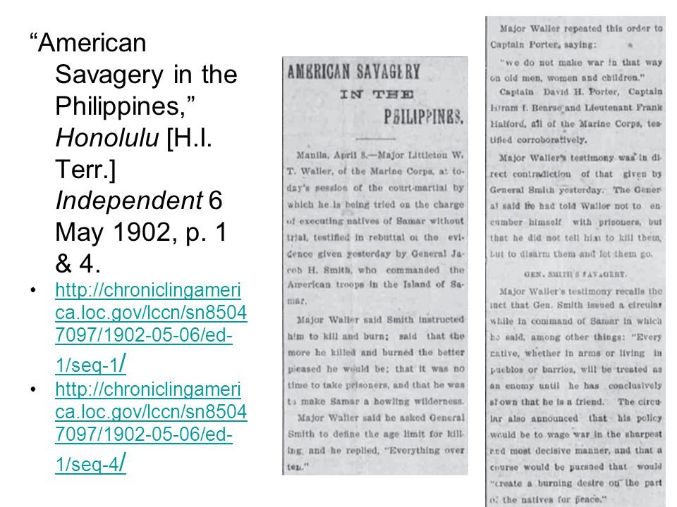 American Savagery in the Philippines, Honolulu [H.I.